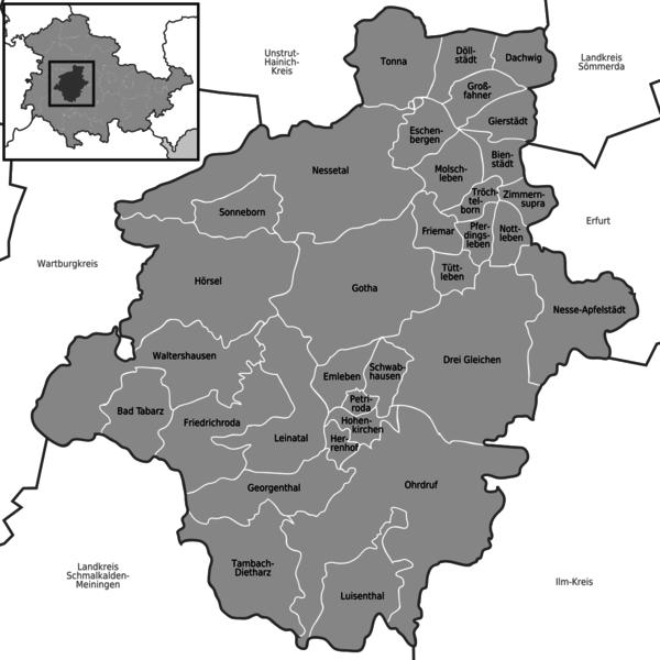 Landkreis Gotha Karte.Landkreis Gotha Region Stadte Gemeinden